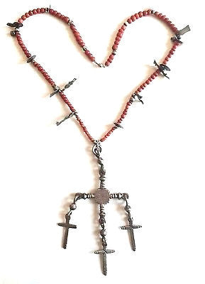 Early Century Protection Talisman Necklace with custom made charms rare 1920's