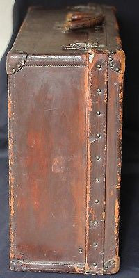 Original Early Century Louis Vuitton Hardside Leather Trunk Suitcase