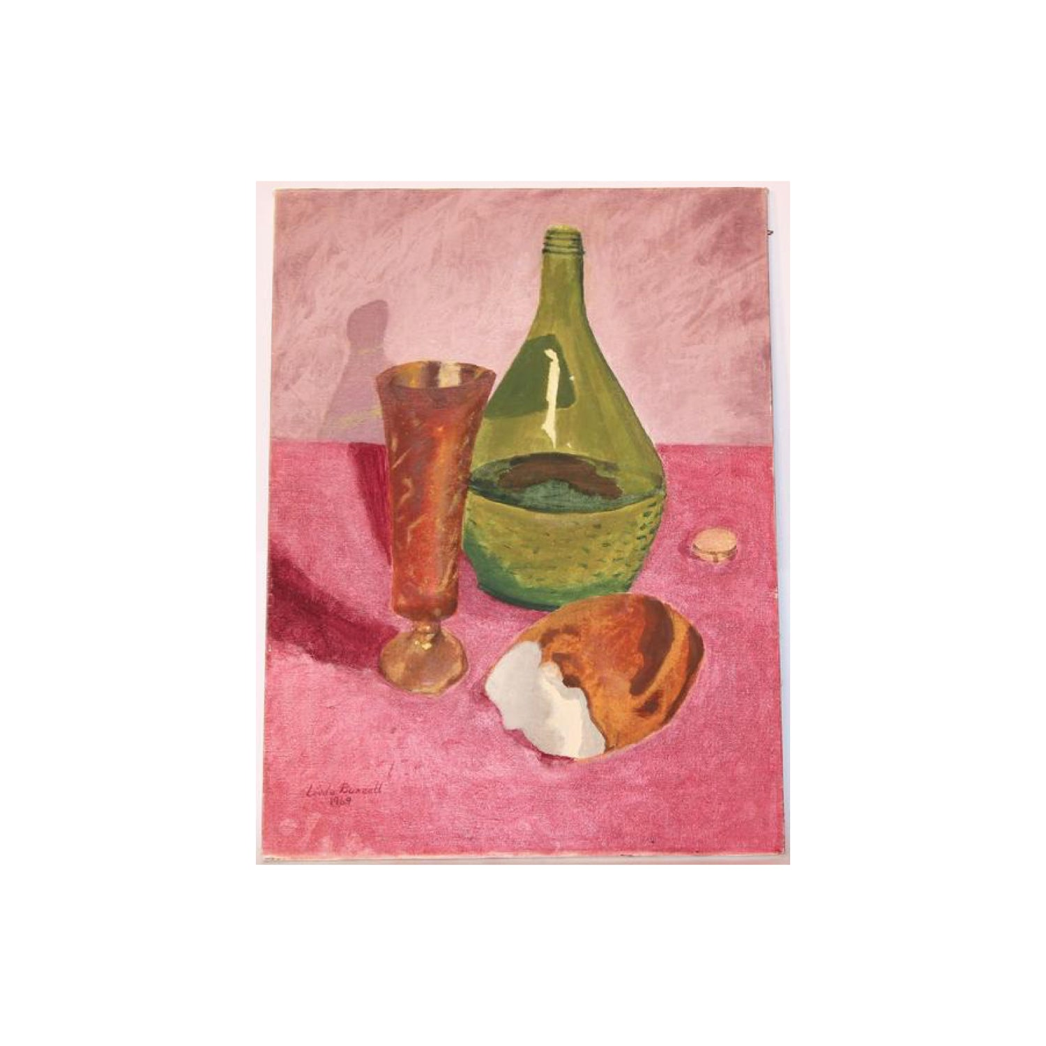 Vintage Oil Painting Bread and Wine by Linda Buzzell 1969