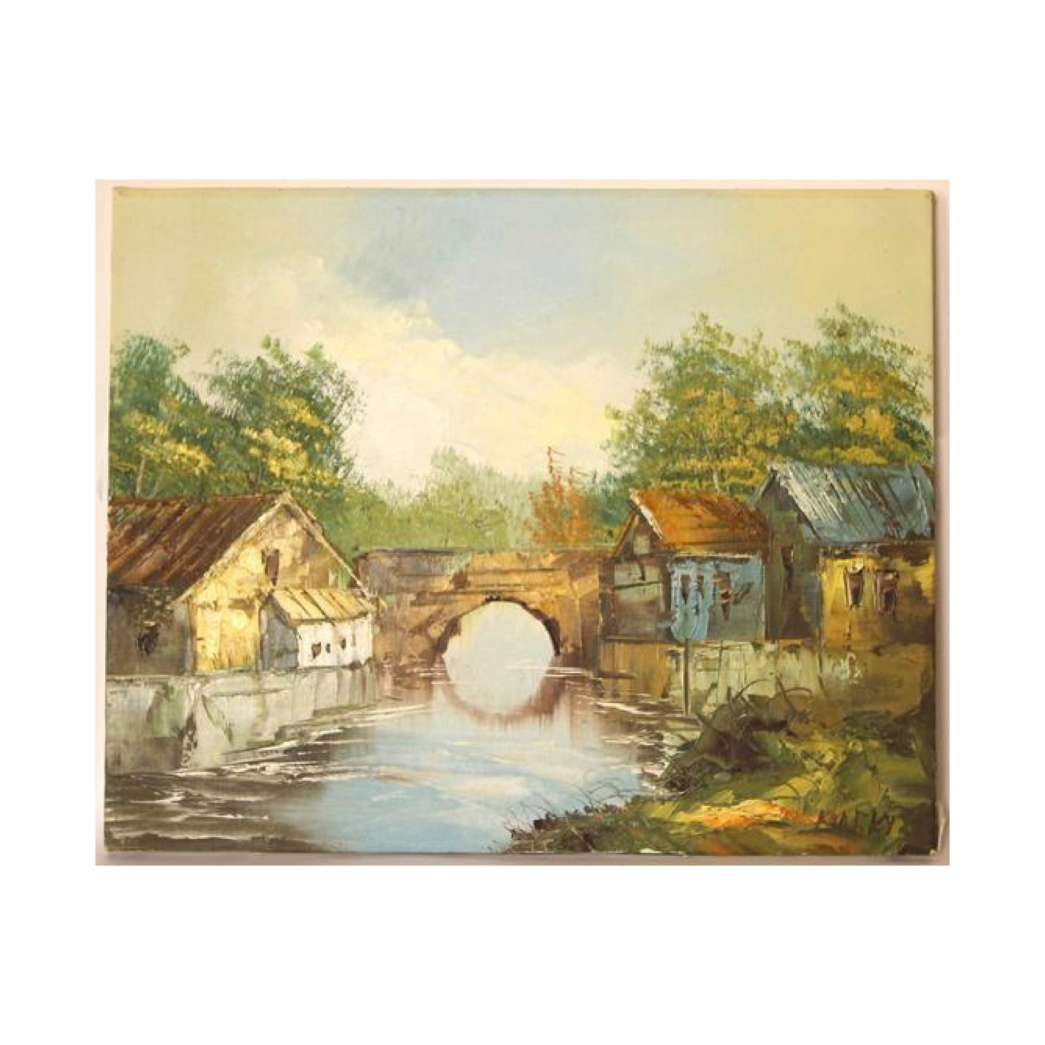 Vintage Painting Country Landscape by Marky