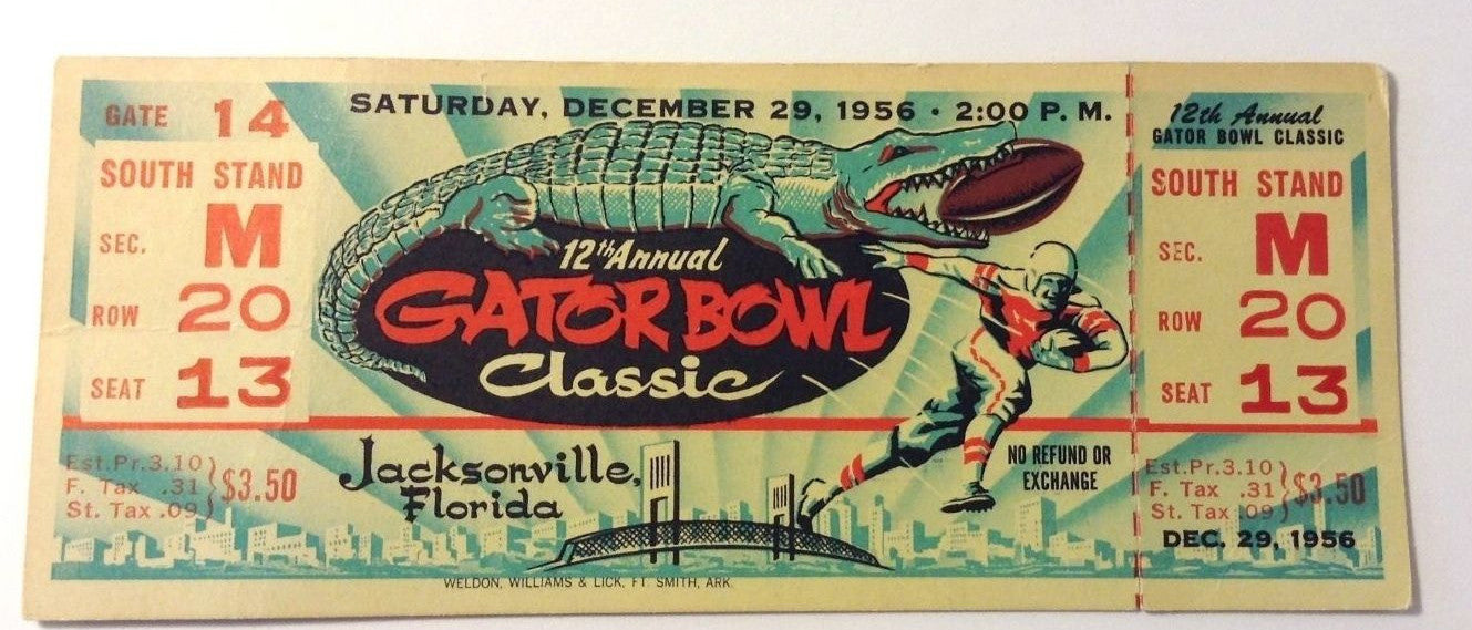 1956 Football Full Ticket 12th Annual Gator Bowl Classic Jacksonville, FL