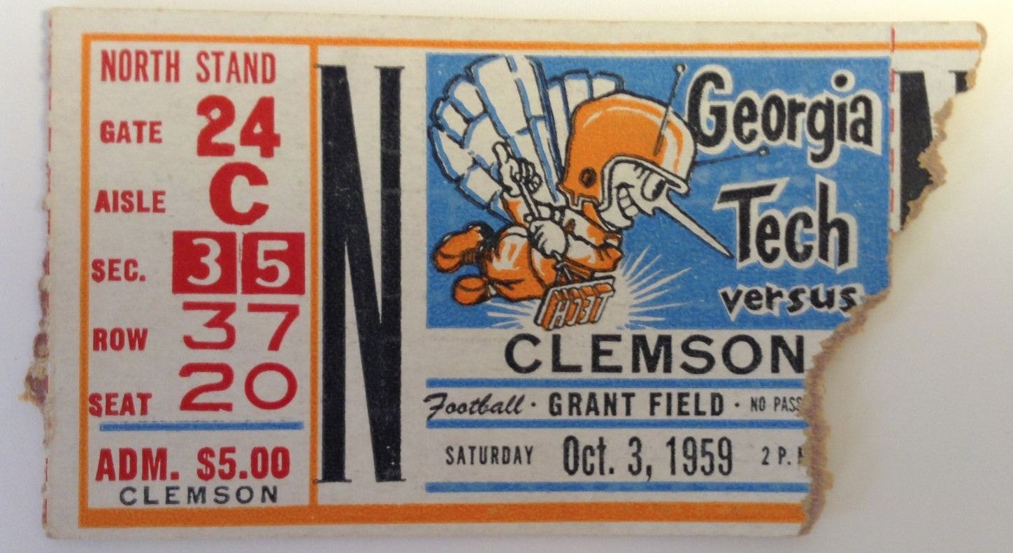 1959 Vintage ticket stub October 3 Georgia Tech vs. Clemson