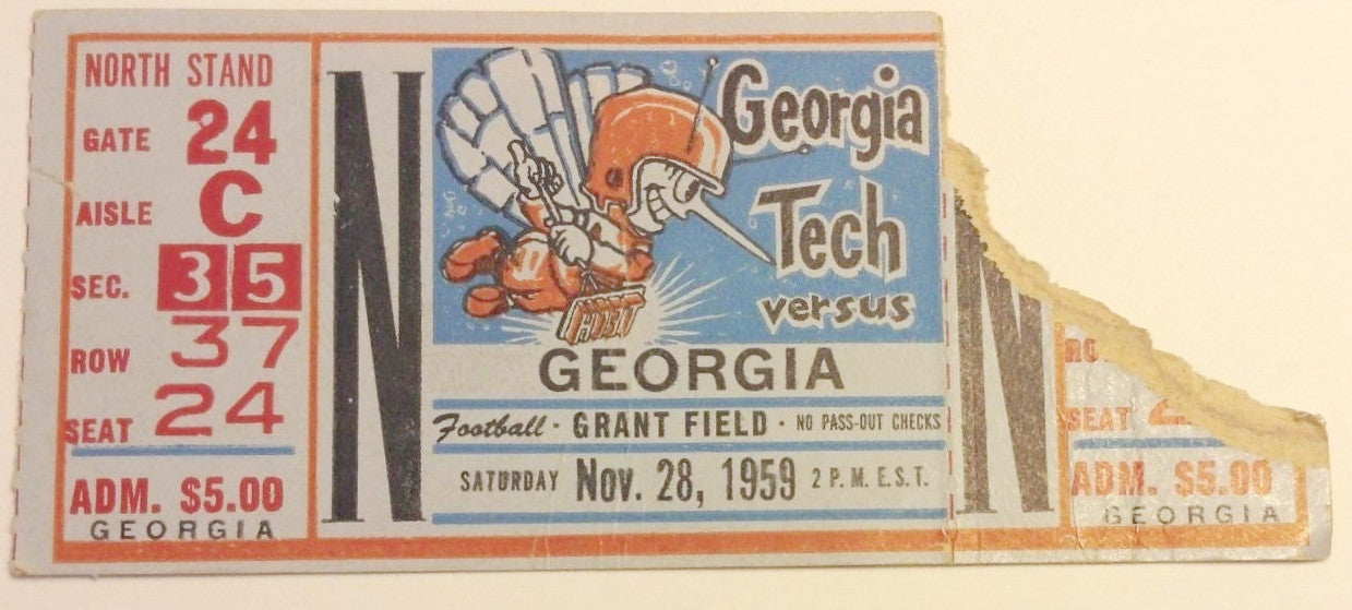 1959 Vintage ticket stub November 28 Georgia Tech vs. Georgia