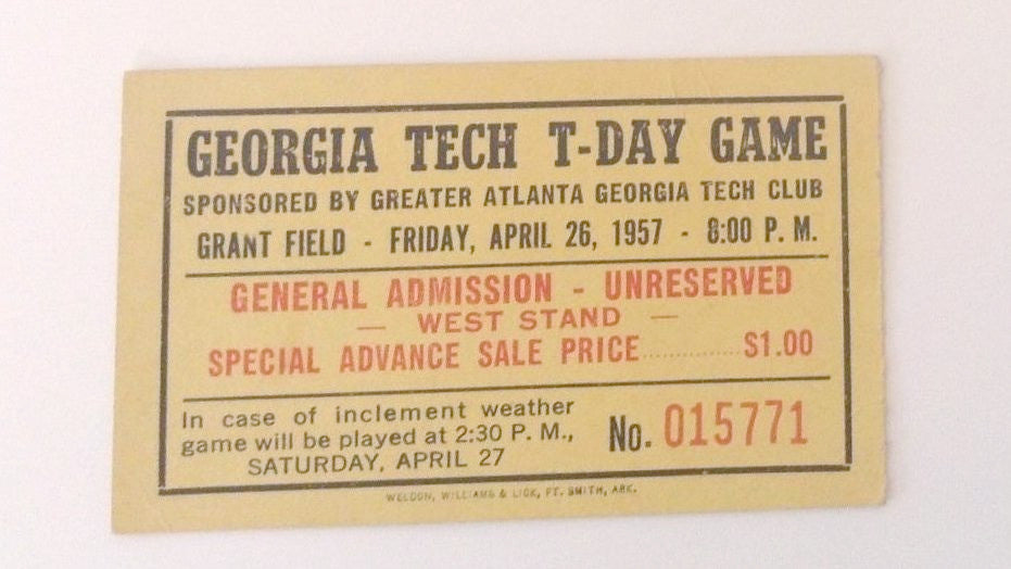 1957 Georgia football ticket stubs T-Day Game April 26, 1957