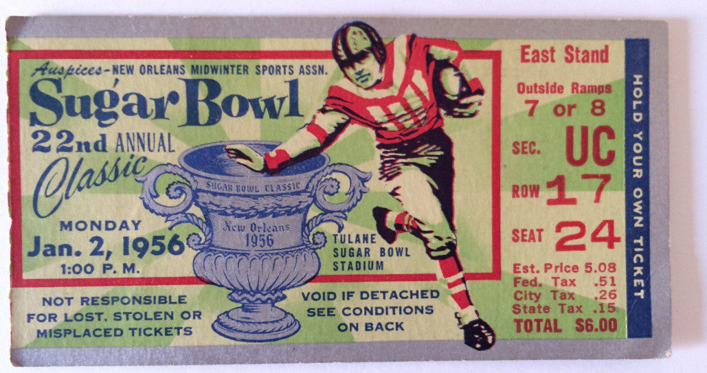Vintage Football ticket stub Sugar Bowl  22nd Annual January 2, 1956 game