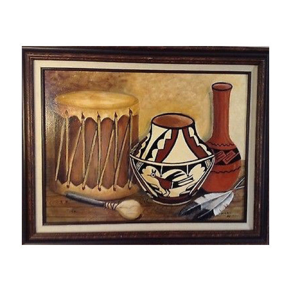 OIL PAINTING native american musical instruments Signed and framed