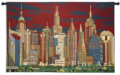 63x41 CITYLINERS Skyscraper Landscape Tapestry Wall Hanging