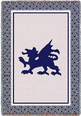48x69 WELSH DRAGON Tapestry Afghan Throw Blanket