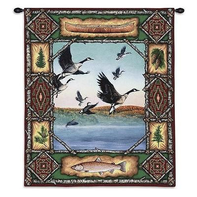 26x33 GEESE Lodge Wildlife Tapestry Wall Hanging