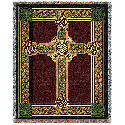 54x69 CELTIC CROSS Irish Tapestry Afghan Throw Blanket