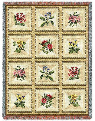 70x54 FRENCH FLORAL Throw Blanket