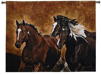 53x65 READY TO RUN Horses Western Tapestry Wall Hanging