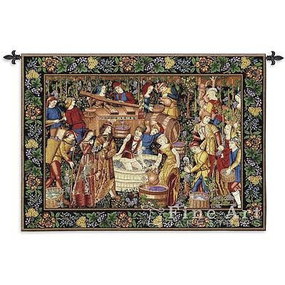 75x53 LES VENDANGES GRAPE HARVEST Vineyard Wine Tapestry Wall Hanging