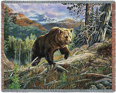 70x54 BROWN BEAR Throw Blanket