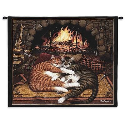 34x26 ALL BURNED OUT Cats Wall Hanging