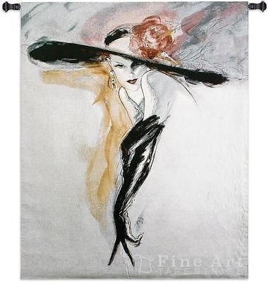46x53 BLACK GLOVES Woman Tapestry Wall Hanging