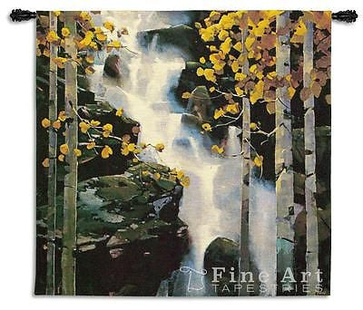 53x53 WATERFALL Trees Nature Fine Art Tapestry Wall Hanging