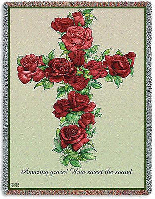 70x53 RED ROSE CROSS  Throw Blanket