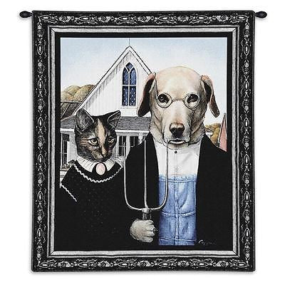 26x34 AMERICAN GOTHIC Dog Cat Wall Hanging