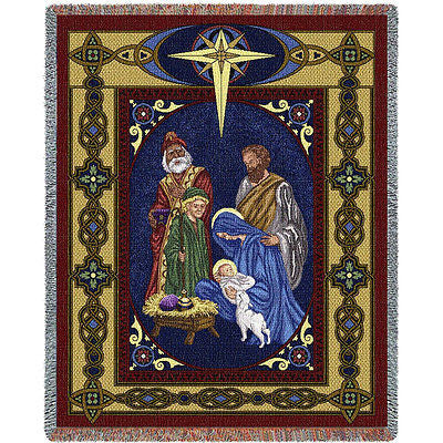 70x54 NATIVITY Jesus Throw Blanket
