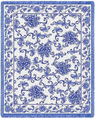 69x48 ORIENTAL BLUE Asian Scrollwork Floral Tapestry Afghan Throw Blanket