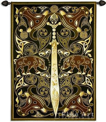 63x45 CELTIC WARRIOR Sword Medieval Tapestry Wall Hanging