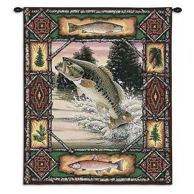26x33 BASS Fish Lodge Wildlife Tapestry Wall Hanging