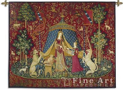 62x50 LADY & UNICORN Sense of Desire Medieval Tapestry Wall Hanging