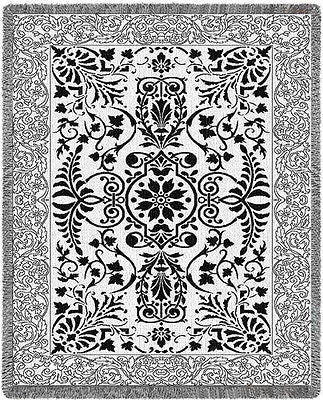 69x48 Black & White SCROLLWORK Floral Tapestry Afghan Throw Blanket