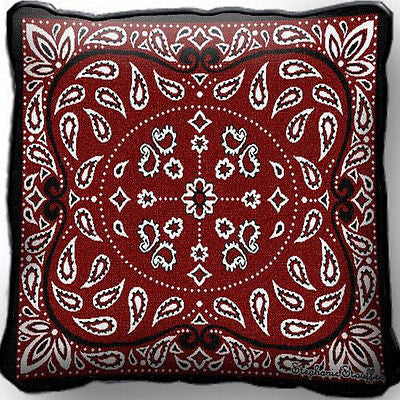 ~Set of 2~ Red BANDANA Western Pillows