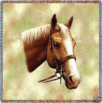 54x54 PALOMINO HORSE Lap Square Jacquard Throw Blanket
