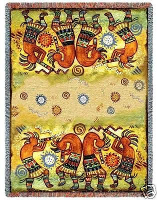 70x53 KOKOPELLI Dancer Southwest JACQUARD Throw Blanket