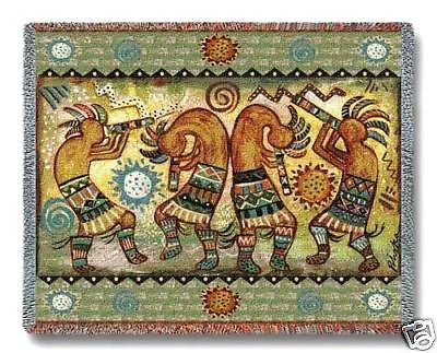 70x54 KOKOPELLI Dancers Throw Blanket