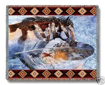 70x54 HORSE Feathers Southwest Throw Blanket