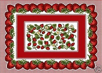 "4 Pc Set 18"" STRAWBERRY Festival Fruit WOVEN Placemat"