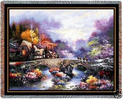 70x53 Country Garden Floral Tapestry Throw
