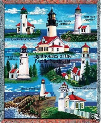 70x53 Pacific NW Lighthouse Throw Blanket