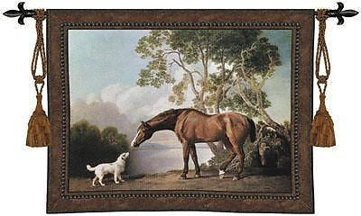 53x41 BAY HORSE White DOG Fine Tapestry Wall Hanging