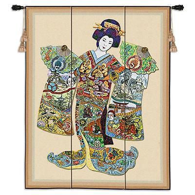 53x41 GEISHA Girl Oriental Asian Tapestry Wall Hanging