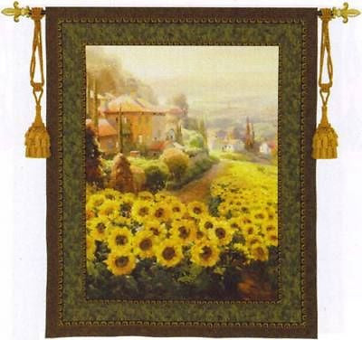 53x45 Fields of Gold Sunflower Floral Tapestry Wall Hanging