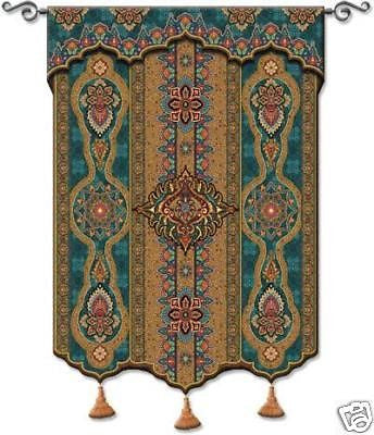 52x62 PREMA AZURE India Tassel Tapestry Wall Hanging