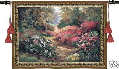 53x43 GARDEN PATH Floral Flower Tapestry Wall Hanging
