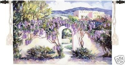 53x34 WISTFUL WISTERIA Floral Spanish Estate Tapestry Wall Hanging