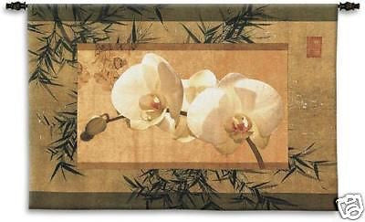 39x26 BAMBOO & ORCHIDS Tapestry Wall Hanging