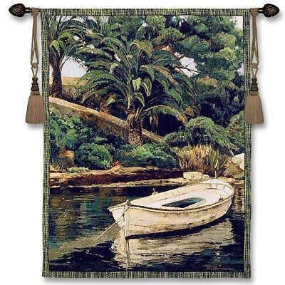 40x52 BARCA Y PALMERAS Tropical Tapestry Wall Hanging