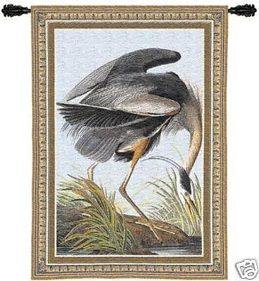 27x36 BLUE HERON Wildlife Bird Tapestry Wall Hanging