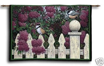 53x42 Chickadee Bird Floral Tapestry Wall Hanging
