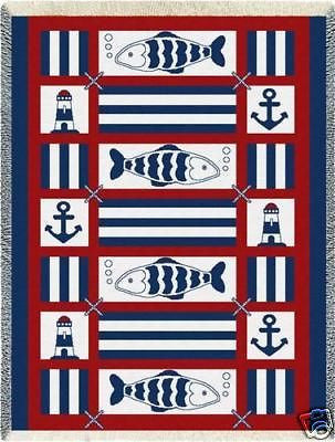 48x69 NAUTICAL FISH Sailing Anchor Afghan Throw Blanket