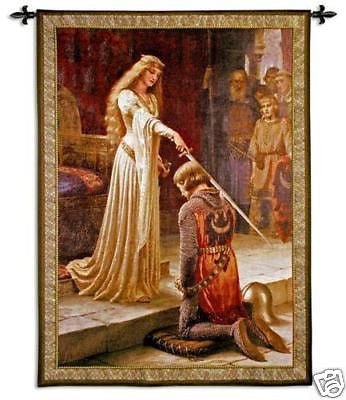 Knight medieval tapestry wall hanging