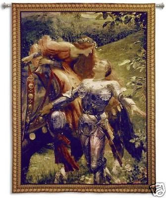 La Belle knight medieval tapestry wall hanging